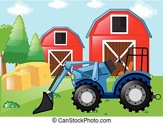 Farm scene with tractor on the field