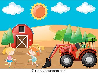 Farm scene with two girls playing in field