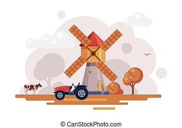 Farm Scene with Vintage Windmill and Tractor at Autumn Rural Landscape, Agriculture and Farming Concept Cartoon Vector Illustration
