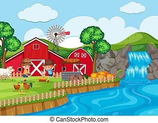farm scene with waterfall
