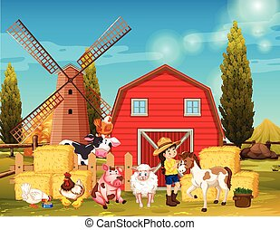 Farm scene with windmill and animals on the farm