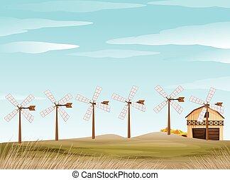 Farm scene with windmill and barn