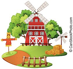 Farm scene with windmill and scarecrow