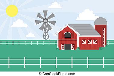 Farm scene with windmill