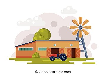 Farm Scene with Wooden Barn, Windmill Water Pump and Tractor at Rural Landscape, Agriculture and Farming Concept Cartoon Vector Illustration
