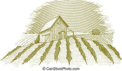 Farm Scene - Woodcut style illustration of a rural farm...
