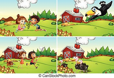 Illustration of four scenes from the farm
