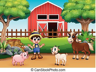 Farm scenes with different animals and farmers in the farmyard