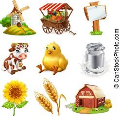 Farm set. Agricultural plants, animals and buildings. 3d...
