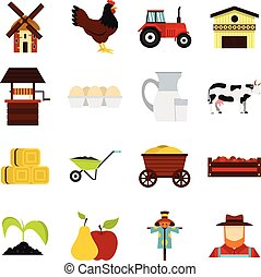 Farm set flat icons