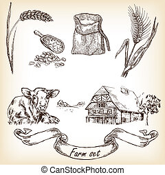 Farm set. Hand drawn illustration of cow, house, sack, grain, me