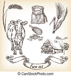Farm set. Hand drawn illustration of cow, house, sack, grain...