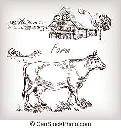 Farm set. House, cow, homestead hand drawn vector illustration i