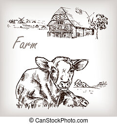 Farm set. House, cow, homestead hand drawn vector illustration i