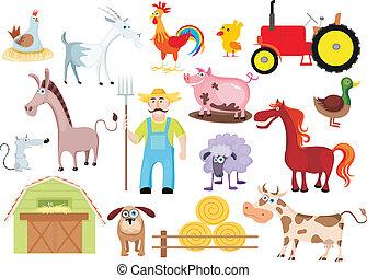 farm set - vector illustration of a farm set