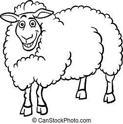 farm sheep cartoon for coloring book