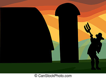 Farm Silhouette - Farmer works with pitchfork in front of...
