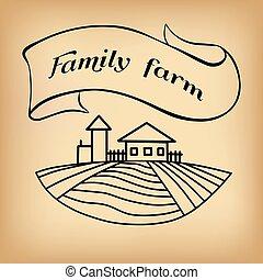 Farm sketch on beige