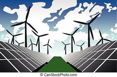 farm., solar, vento, panel., illustration., vetorial