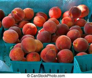 Farm Stand Peaches - Fresh pciked peaches for sale at a road...