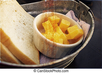 farm-style breakfast - home-made bread and butter in a zinc ...