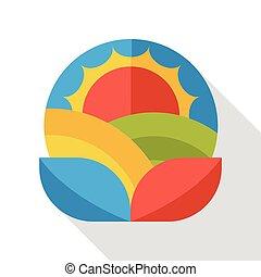 farm sun flat icon