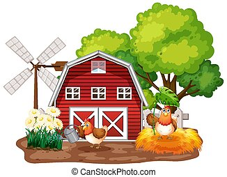 Farm theme background with farm animals and red barn