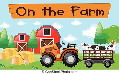 Farm theme with cows on the tractor