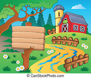 Farm theme with red barn 4