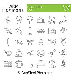 Farm thin line icon set, agriculture symbols collection, vector sketches, logo illustrations, gardening signs linear pictograms package isolated on white background.