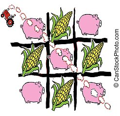 Farmer on tractor driving across tic tac toe field made up of corn and pigs