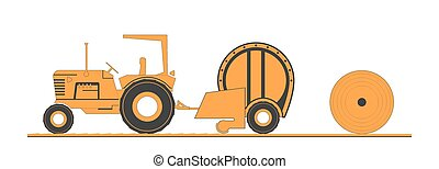 Farm tractor and round baler. Vector illustration.