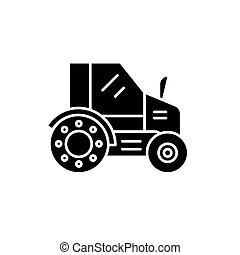 Farm tractor black icon, vector sign on isolated background. Farm tractor concept symbol, illustration