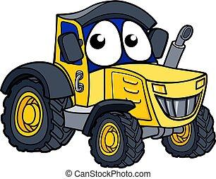 Farm Tractor Cartoon Character