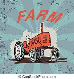 Farm Tractor Grunge Illustration T-shirt Print Design Vector