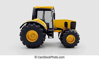 Farm tractor in studio