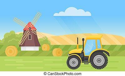 Farm tractor in summer village landscape, countryside scene with mills, haystacks, fields