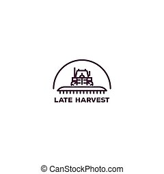 Farm tractor logo - Pixel perfect farming logo. Front view...