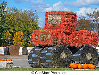 Farm tractor made out of hay bales