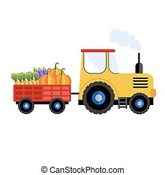 Farm tractor on white background, icon.