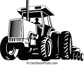 Farm Tractor Pulling a Plow or Plough While Plowing Retro ...