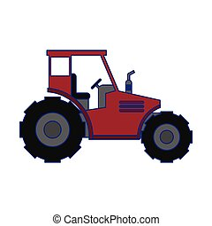 Farm tractor vehicle isolated blue lines