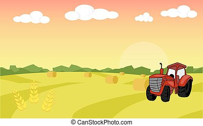 Farm tractor with sheaf. Harvest. Farm landscape illustration. Field wheat background. Farm sunrise background. Vector illustration