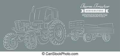 Farm tractor with sketch style line art design. Hand drawn...