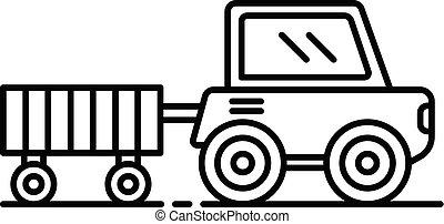 Farm trail machine icon, outline style
