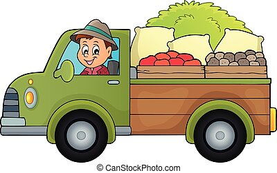Farm truck theme image 1 - eps10 vector illustration.