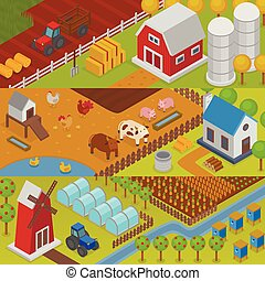 Farm vector agriculture landscape farming house field rural countryside background illustration farm house on agricultural landscaping backdrop harvest farmland village ranch