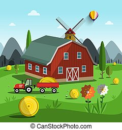 Farm. Vector Cartoon with Tractor, Building and Mountains on Background.