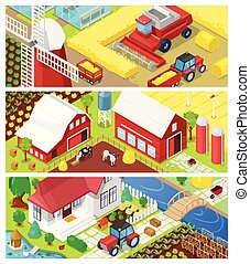 Farm vector farming agriculture in fields and farmhouse illustration agricultural set of rural house on farmland or farmyard meadow landscape background