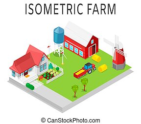 Farm vector isometric illustration. Rural farming with tractor, house, barn, windmill and warehouse. Sun power station and eco garden of farmers vegetables.
